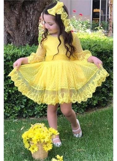 Riccotarz Kız Çocuk Prenses Güpürlü Elbise Sarı